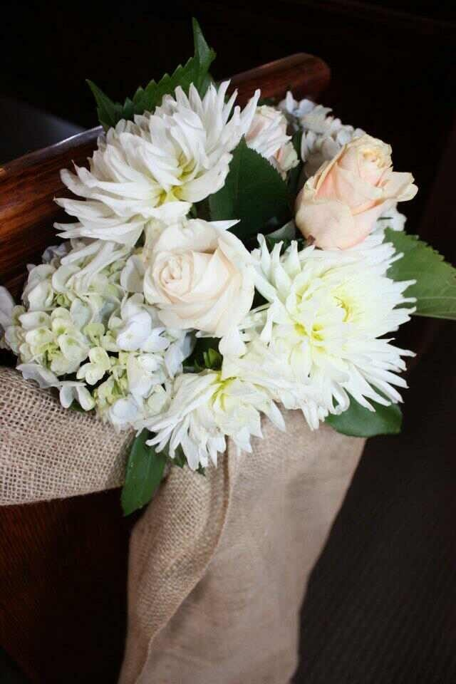 Hessian pew bows with peach roses, hydrangea and white dahlia. #pew bows  #hessian linen #floral pew decoration #bouquet #wedding #hire #melbourne #centerpiece #crystals #hire #melbourne #floralcenterpieces #floralcenterpiecesmelbourne #floralstyling #flowercenterpieces #flowersforweddings #tabledecorations #weddingcenterpiecesmelbourne #weddingdecorhire #weddingdecorationideas #weddingdesign  www.decorit.com.au (10)