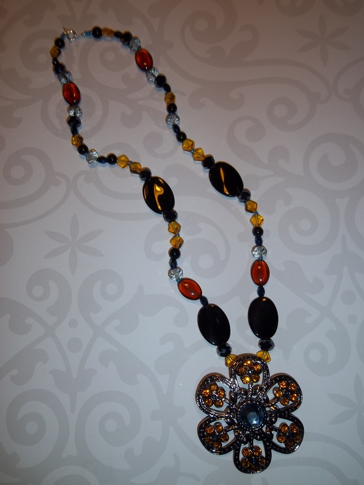 Blue, black and orange necklace