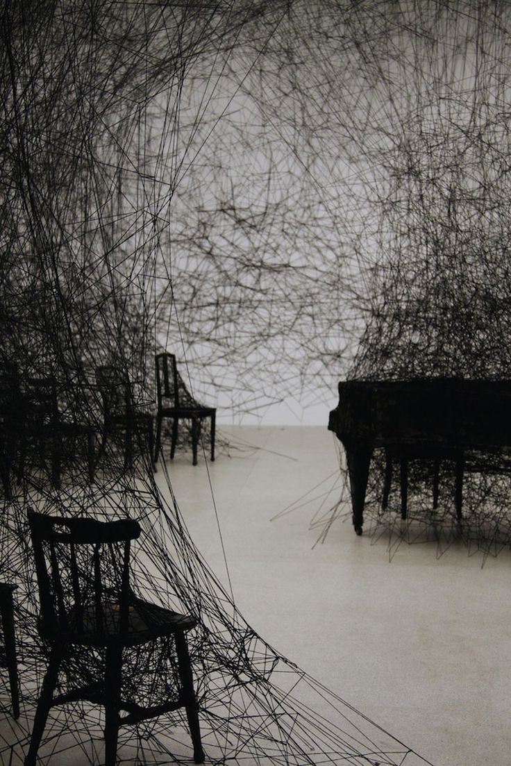 Chiharu Shiota's fascinating installations.  Imagine tracing your every movement about your house with a piece of string. the connections would be facinating