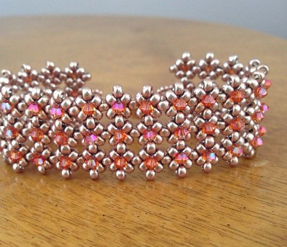 You can request any color crystals and a choice of gold, champagne, bronze or silver for the base of my stunning and versatile beaded cuff!! Pink & Topaz crystal cuff bracelet, Swarovski bracelet, topaz cuff, beaded cuff bracelet, bridal cuff, beadwoven cuff, wedding jewelry, EBW