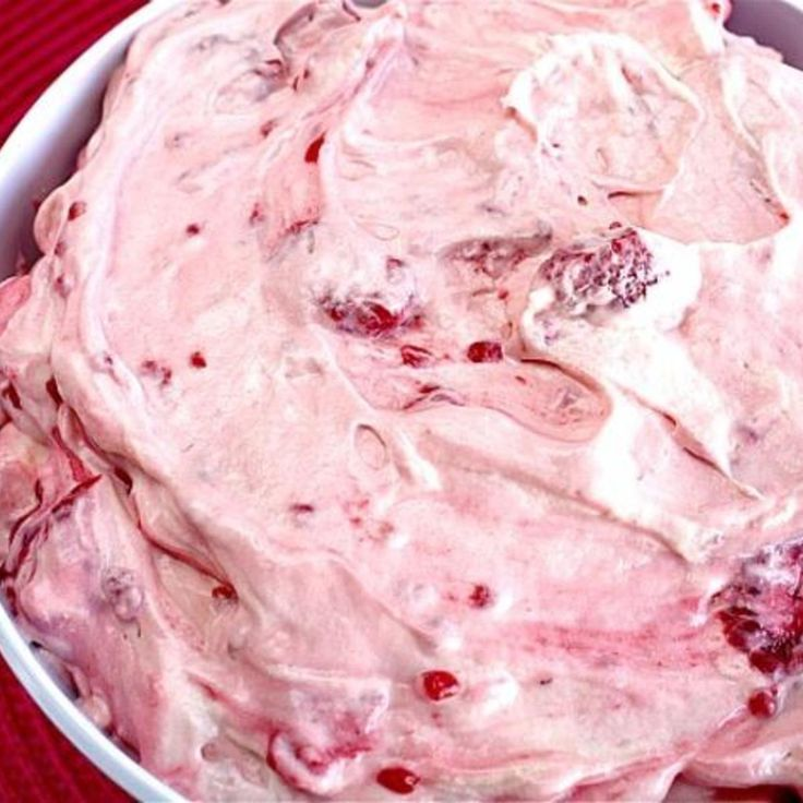 *****Raspberry Vanilla Jello Salad. Large container of vanilla yogurt, 1 large box instant vanilla pudding, container of cool whip and frozen raspberries.