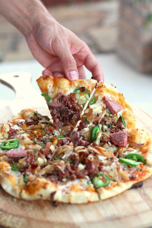 Bacon Jalapeno Sausage Pizza with Sriracha Sauce