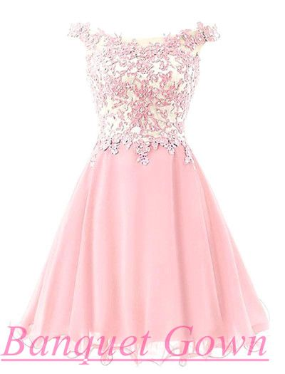 Lovely Illusion Cap Sleeve Short Pink Homecoming Dress With Lace Appliques Prom Gowns
