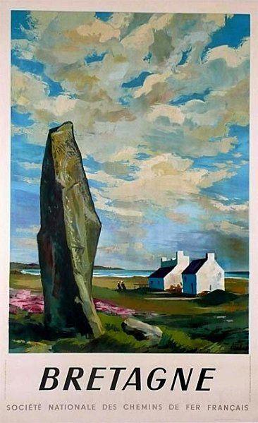 Standing stone on vintage travel poster for Brittany/ Breton/Bretagne