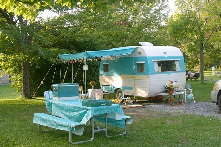 Turquoise Glamper...not to live in, but since the hubby lives in our bumper pull, I need something fun for when me and my daughter what to go camping!  Re-make an old camper and glamp it up!