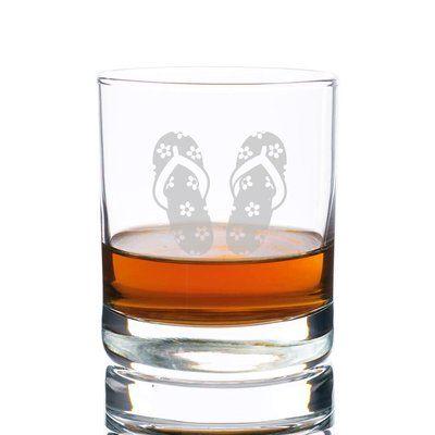 Highland Dunes Souhail Floral Flip Flops Rocks 10 oz. Glass Every Day Glass