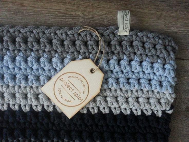Handmade crochet rug Knitted floor rug Cotton gray blue rug gift Hand knitted Handmade rug Knit Home decor Modern rug Rugs Modern decor by ProjectSplot on Etsy