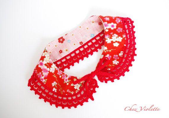 Col Claudine floral crochet rouge japonais col par chezviolette, €35.00