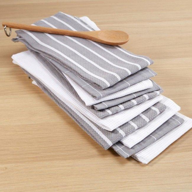 Harman Multi Check 100% Cotton Tea Towel - Set of 10 (Grey)