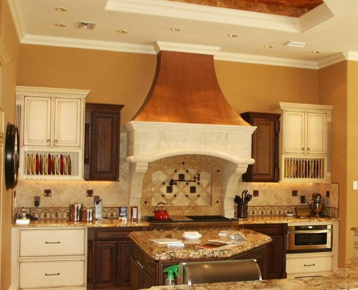 Stone hood with standard Cast stone legs. The top is corated with copper. This is our first stone hood with cooper. So we call this one our copper hood.