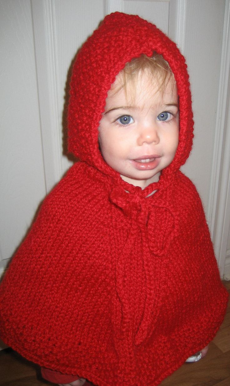 Knitting Pattern Baby Poncho With Hood : Baby Knit Poncho With Hood In A Wool-blend /Sizes 1 - 3 ...