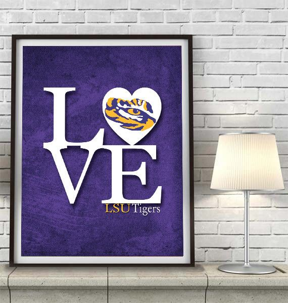 Man Cave Wall Art : Lsu louisiana state university tigers inspired quot love art