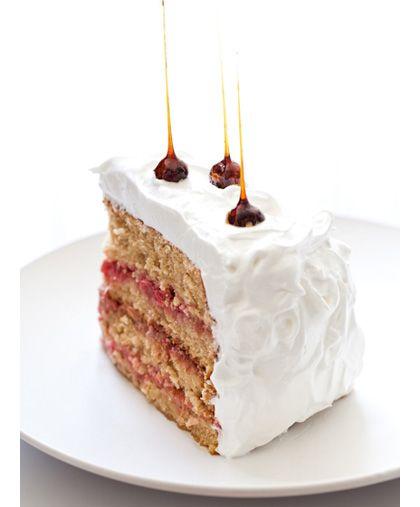 Espresso cake with raspberry & rhubarb compote & Italian meringue