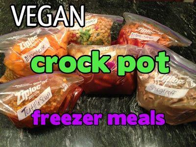 What Vegan Kids Eat: VEGAN Crock Pot FREEZER Meals  Tortilla soup, sweet potato stew, noodle stroganoff, minestrone, teriyaki veggie and rice, and broccoli cheese un-casserole!