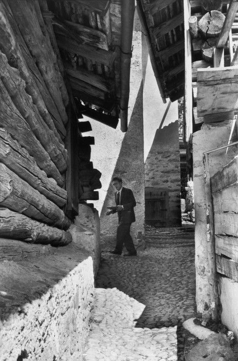 Magnum Photos -  Henri Cartier-Bresson - SWITZERLAND. Region of Grisons. Village of Stampa. Swiss painter and sculptor, Alberto GIACOMETTI, at his home. 1961.