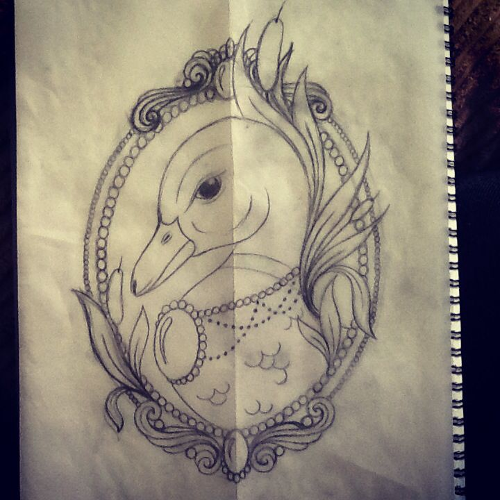 Cute duck tattoo design by libby firefly