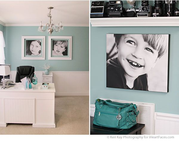 Black and white photos on pastel wall