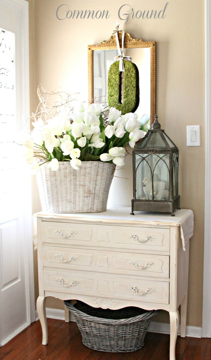 Common Ground: Spring in the Entryway. Fresh White Springtime decor.