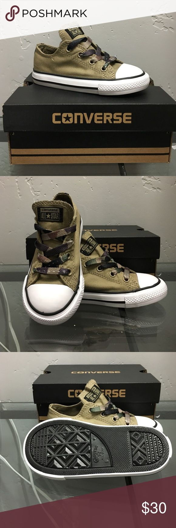 Camo converse Super cute and manly Camo Converse. Size 8 infant / new in box Converse Shoes