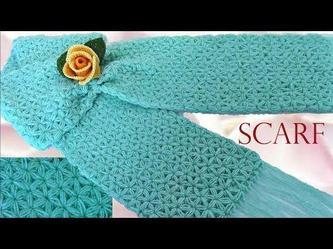 Bufanda a Crochet en punto Jazmín- How to Make a Scarf Knitting - YouTube