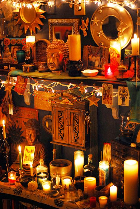 This is so beautiful! It has really inspired me to make better use of my own altar space, perhaps by investing in more candles, and by tracking down a suitable altar cloth. Photographs certainly add a more personal element to the space- incense and flowers also make it a little more special, though I'm inclined to use dried flowers rather than fresh! Om Mani Padme Hum <3