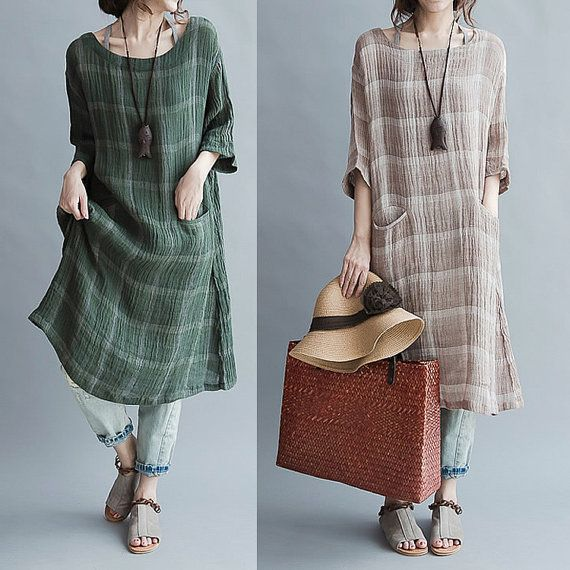 Linen collar six points dress sleeve literary loose grid - khaki - green dress