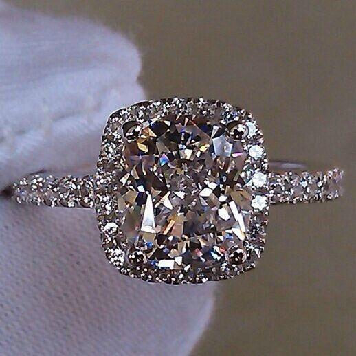 3 CT Princess Cut SONA Diamond Halo Style Cushion Shape Women Wedding Ring #Solitaire