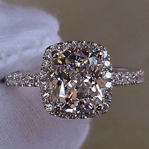 3 ct princess cut sona diamond halo style cushion shape women wedding ring
