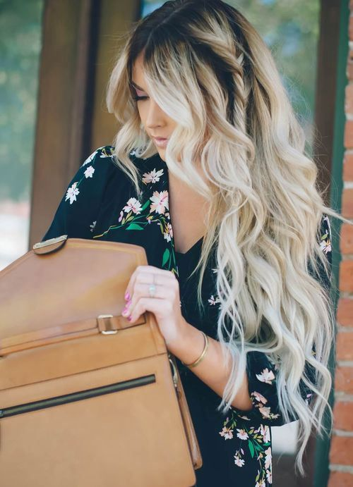 Long blonde curls with a hidden twist. get similar curls with a NuMe Wand!