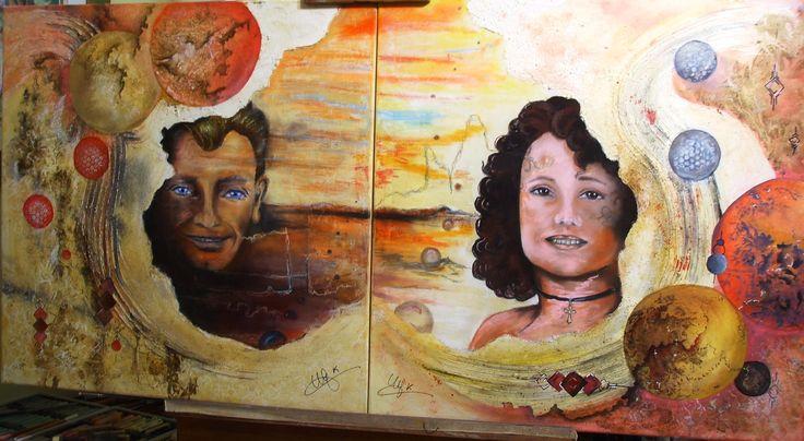 N & H posthumus- acrylique et pastels : 2 carrés de 60 travaillés séparément mais dans le même esprit en hommage à mes parents.