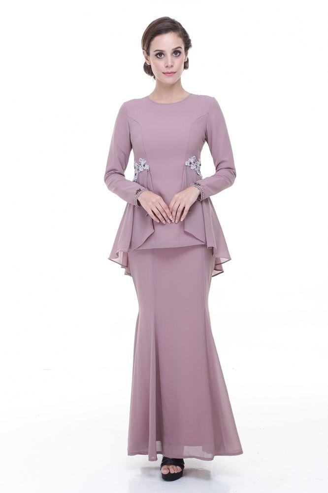 Rina Nichie Desni Peplum Kurung Dusty Purple