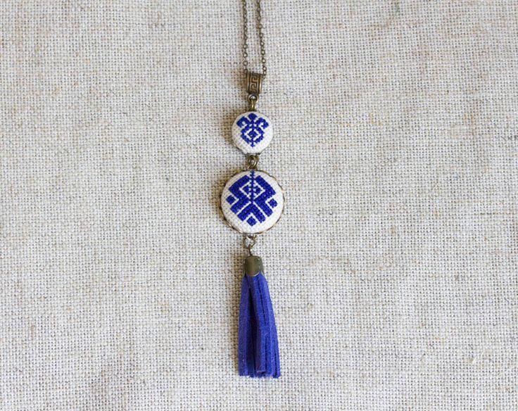 Cross stitch Ethnic necklace-dark blue-n065 from Skrynka by DaWanda.com