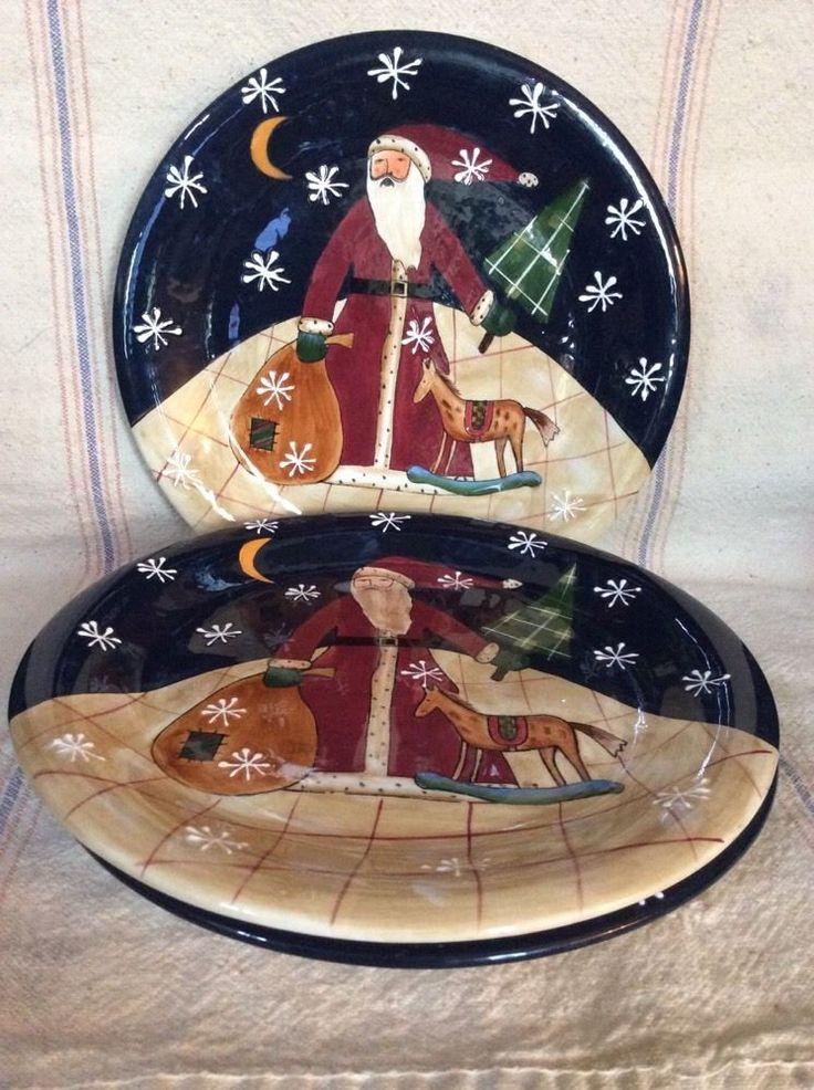3 Certified International Susan Winget 11\  Dinner Plates Holiday SANTA Christmas #CertifiedInternational & 142 best Susan Winget Dinnerware images on Pinterest | Cutlery ...