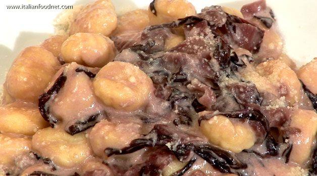 Gnocchi with gorgonzola and radicchio (Gnocchi al gorgonzola e radicchio)  http://www.italianfoodnet.com/eng/video/gnocchi-with-gorgonzola-and-radicchio