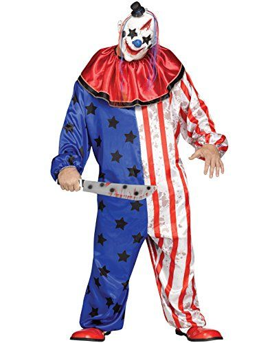 Evil Clown Plus Size Costume: Includes: Jumpsuit, collar, mask. Not included: Knife, shoes.