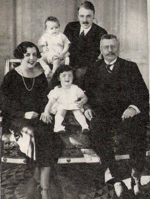 The Grimaldi family: (left to right) Princess Charlotte, Prince Rainier, Princess Antoinette, Prince Pierre and Sovereign Prince Louis II.