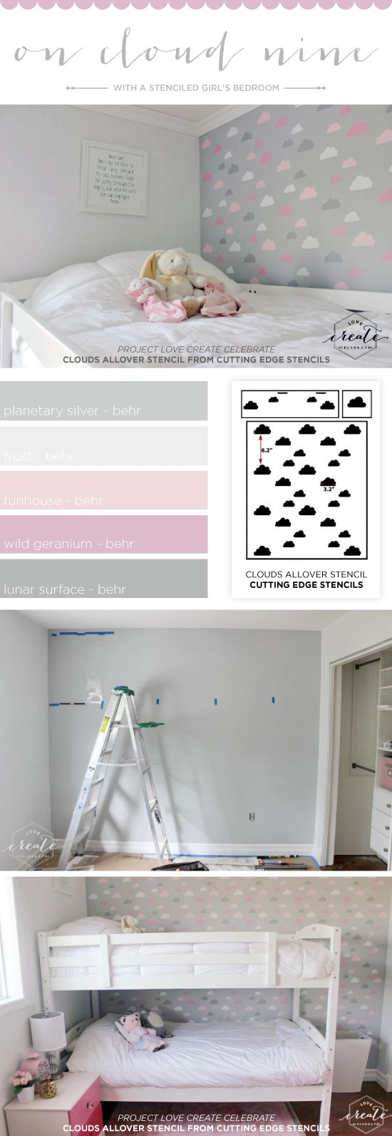 Bedroom Stencil Ideas. Cutting Edge Stencils shares a DIY stenciled girl s bedroom accent wall  using the Cloud Allover 343 best Girl Room Decor images on Pinterest