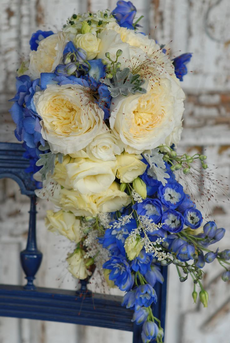 Blue cascading wedding bouquet