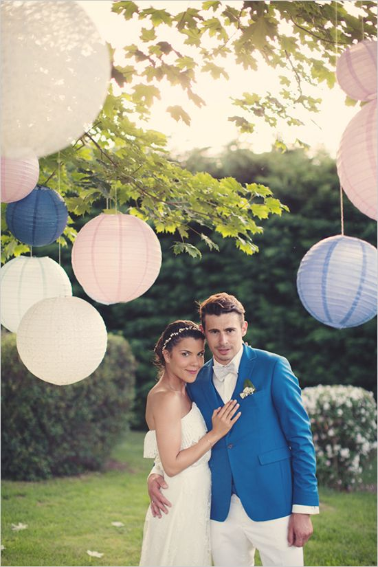 Blue and pink French wedding. Captured By: Anne-Claire Brun ---> http://www.weddingchicks.com/2014/06/05/vintage-chic-french-wedding/