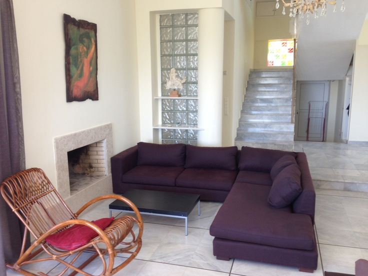 Villa' s comfortable living room and fireplace! New taken photos 15/5/2013!   http://villa-lucia.gr/