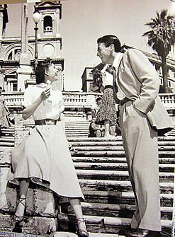 Audrey Hepburn in Roman Holiday (Vacanze Romane) at the Spanish Steps between the Piazza di Spagna at the base and Piazza Trinità dei Monti - Rome