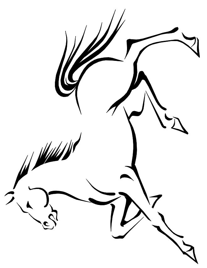 horse coloring pages free printable | free horse coloring page: running horse