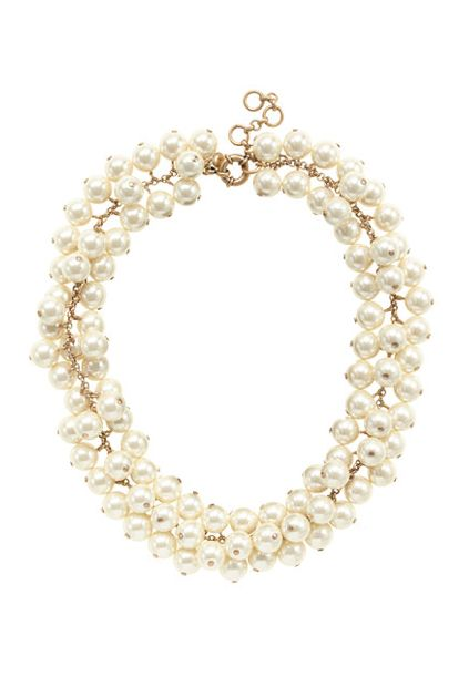 A modern pearl necklace that makes a shiny statement.