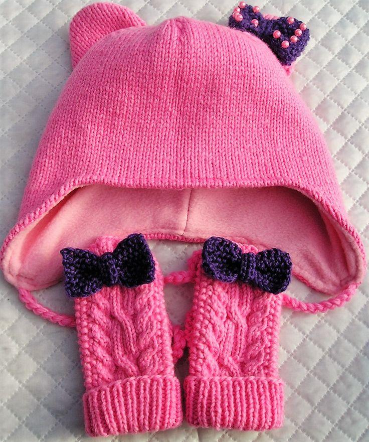 Шапочка и варежки для девочки от 1,5годика-2лет,продаю шапочку и варежки  для девочки--вязаная шапочка для девочки