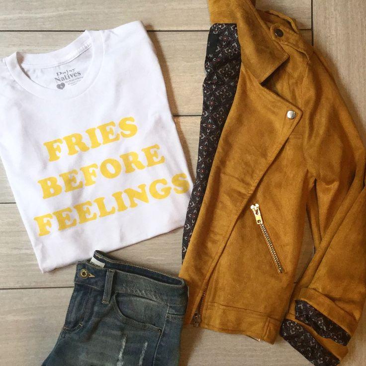 Fries Before Feelings Tee - Longhorn Fashions