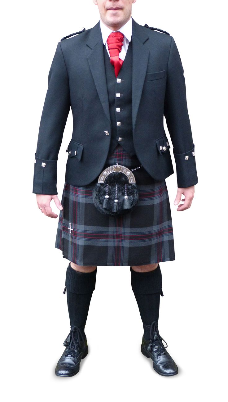 Lionheart kilt with black Argyll jacket & 5 button vest. Also goes well with grey arrochar.