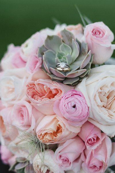 Bride Bouquet with Lola succulents, tillandsia, ranunculus, roses and Juliet garden roses. Flowers by Roots Flowers and Events.  www.rootsflowersandevents Photo by: Gin and Sake Las Vegas Destination Wedding Venue: Las Vegas Country Club