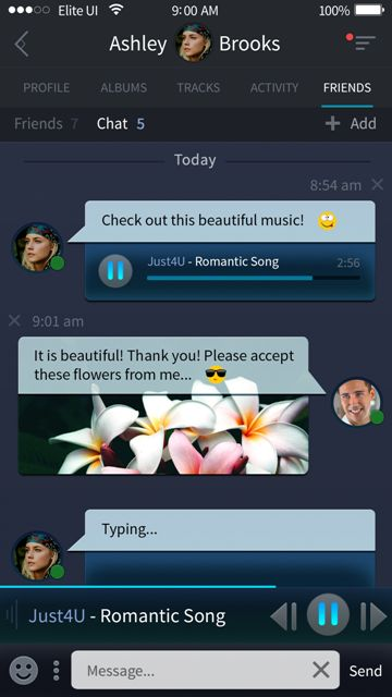 Beautiful chat screen for a music app. Visit our site for more awesome UI designs!