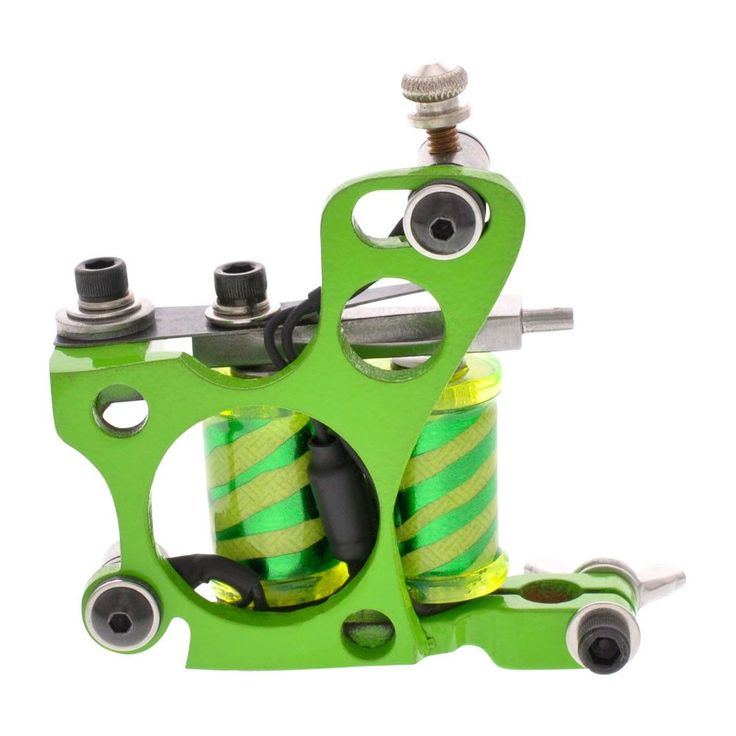 "Painful Irons Green 6 Hole Custom Liner Tattoo Machine Zebra Print Coils 1.25"" 8W"