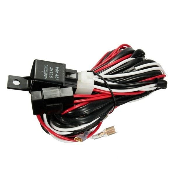 v a w relay fuse wiring harness for any pin led light 12v 40a 300w relay fuse wiring harness for any 5 pin led light rocker switch